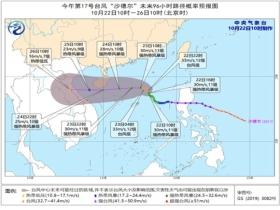 """台风蓝色预警继续!""""沙德尔""""24日擦过或登陆海南南部"""